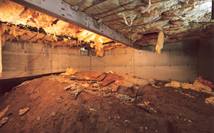 Crawl Space Moisture Barrier before in Reno