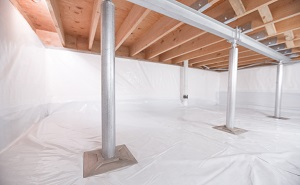 Crawl space structural support jacks installed in Olympic Valley