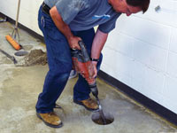 Coring the concrete of a concrete slab floor in Silver Springs