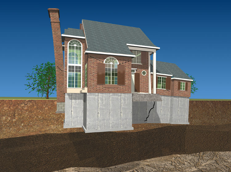 Illustration Of A Settling, Sinking Foundation Structure With A Tilting  Chimney And Cracked Foundation