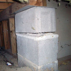 Collapsing crawl space support pillars Doyle