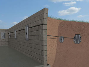 A graphic illustration of a foundation wall system installed in Carnelian Bay