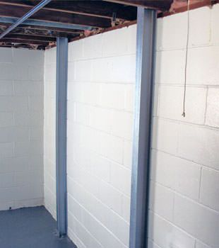 A PowerBrace™ i-beam foundation wall repair system in Reno