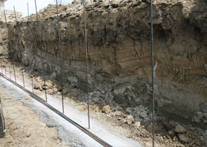 Soil layers exposed while excavating to construct a new foundation in Minden